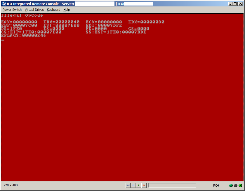 Illegal OpCode Red Screen of Death while booting a HP Proliant